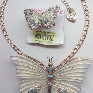 Betsey Johnson New White Butterfly Necklace & Ring